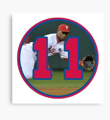 Jimmy Rollins Phillies Number 11 Canvas Print