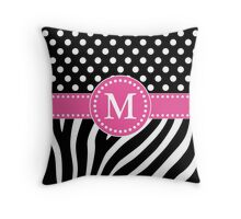 Black and White Zebra Stripes and Polka Dots M Monogram Throw Pillow