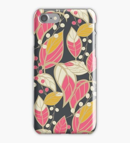 Seamless floral pattern with hand drawn leaves iPhone Case/Skin