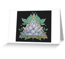 Stained Glass Lotus Illustration Greeting Card