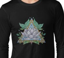 Stained Glass Lotus Illustration Long Sleeve T-Shirt