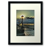 Riverside lamplight - London Framed Print