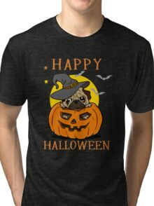 Happy Halloween For Pug Dog Lover Tri-blend T-Shirt
