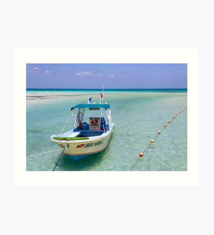 Dive Boat off Avalon (Mia) Bridge - Isla Mujeres Art Print