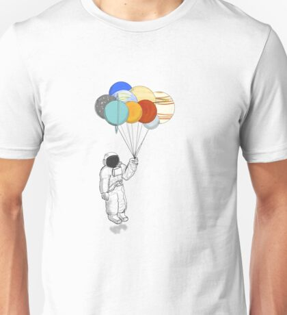 Astronaut  with Balloon Planets Unisex T-Shirt
