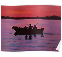 Fishing in the sunset Poster