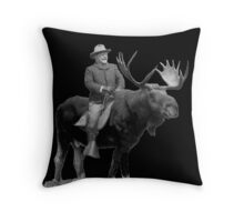 Teddy Roosevelt Riding A Bull Moose Throw Pillow