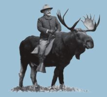 Teddy Roosevelt Riding A Bull Moose Baby Tee