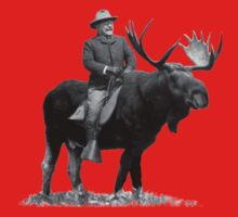 Teddy Roosevelt Riding A Bull Moose One Piece - Short Sleeve