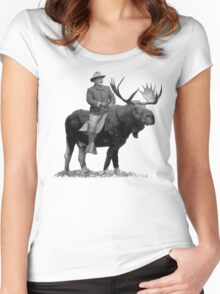 Teddy Roosevelt Riding A Bull Moose Women's Fitted Scoop T-Shirt