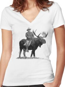 Teddy Roosevelt Riding A Bull Moose Women's Fitted V-Neck T-Shirt