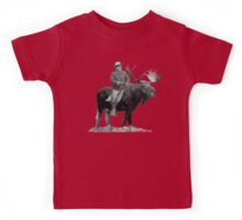 Teddy Roosevelt Riding A Bull Moose Kids Tee