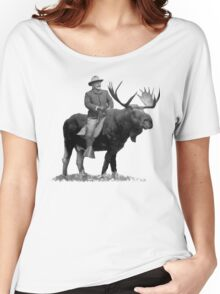 Teddy Roosevelt Riding A Bull Moose Women's Relaxed Fit T-Shirt