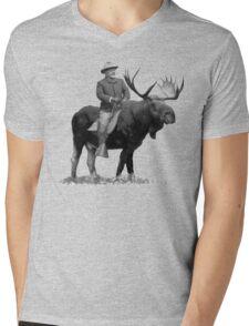 Teddy Roosevelt Riding A Bull Moose Mens V-Neck T-Shirt