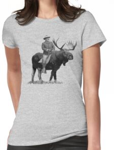 Teddy Roosevelt Riding A Bull Moose Womens Fitted T-Shirt