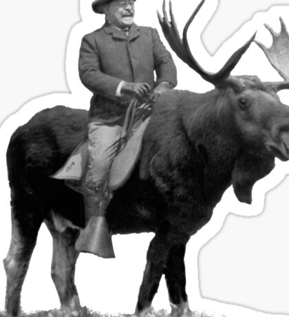 Teddy Roosevelt Riding A Bull Moose Sticker
