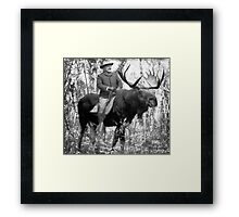 Teddy Roosevelt Riding A Bull Moose Framed Print