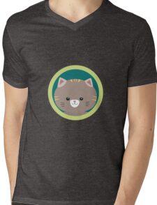 Cute tiger kitty with green circle Mens V-Neck T-Shirt