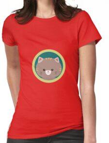 Cute tiger kitty with green circle Womens Fitted T-Shirt