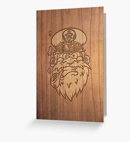 Captain Salty on Wood. Greeting Card