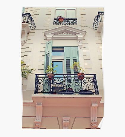 Blue Door Balcony Old Architecture Poster