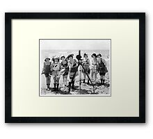 Old timey beach girls & camera Framed Print