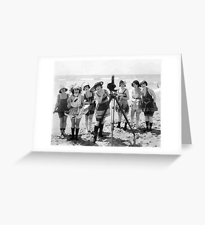 Old timey beach girls & camera Greeting Card