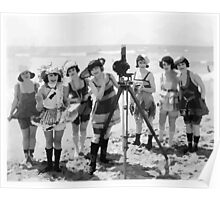 Old timey beach girls & camera Poster