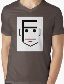 Letter Face_F Mens V-Neck T-Shirt