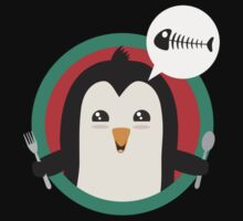 Penguin with cutlery and fish Kids Tee