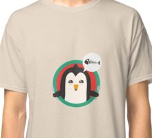 Penguin with cutlery and fish Classic T-Shirt