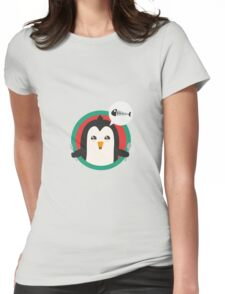 Penguin with cutlery and fish Womens Fitted T-Shirt