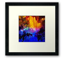 CASTLES IN THE MIST Bold Rainbow Colorful Magical Fantasy Fine Art Abstract Acrylic Painting Framed Print