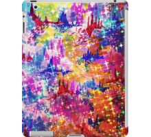 SKY RISERS 1 Colorful Abstract Watercolor Painting Mixed Media Mountains Castles Clouds Stars Sparkle Pattern Fine Art iPad Case/Skin