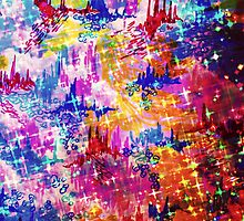 SKY RISERS 1 Colorful Abstract Watercolor Painting Mixed Media Mountains Castles Clouds Stars Sparkle Pattern Fine Art by EbiEmporium