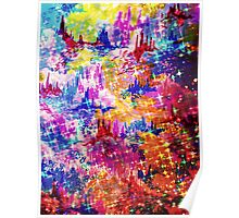 SKY RISERS 1 Colorful Abstract Watercolor Painting Mixed Media Mountains Castles Clouds Stars Sparkle Pattern Fine Art Poster