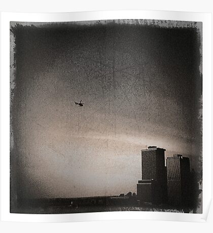 helicopter + manhattan Poster