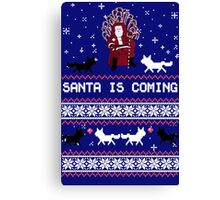 Santa is Coming- Happy Christmas Sweater Canvas Print