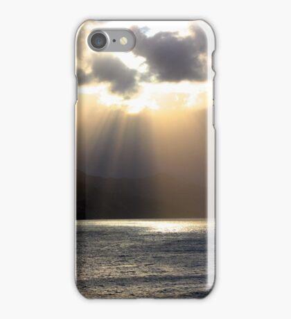 Sun rays over water iPhone Case/Skin