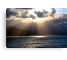 Sun rays over water Canvas Print