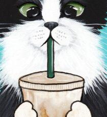 Tuxedo Cat with Iced Coffee Sticker