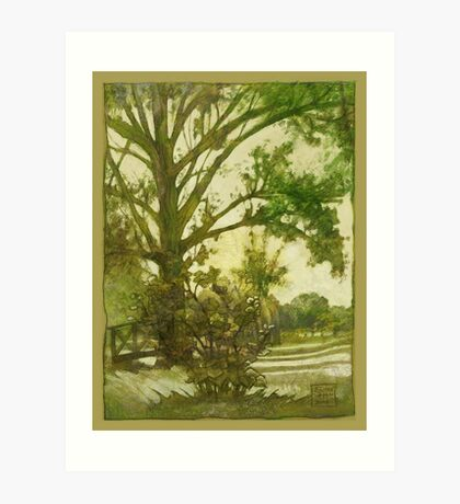 Summer in the park sketch in Green Art Print