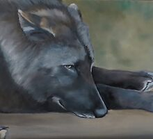 Black Wolf Resting by Charlotte Yealey