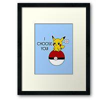 Pokemon Pikachu Valentine's Day Design! (Blue) Framed Print