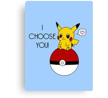 Pokemon Pikachu Valentine's Day Design! (Blue) Canvas Print