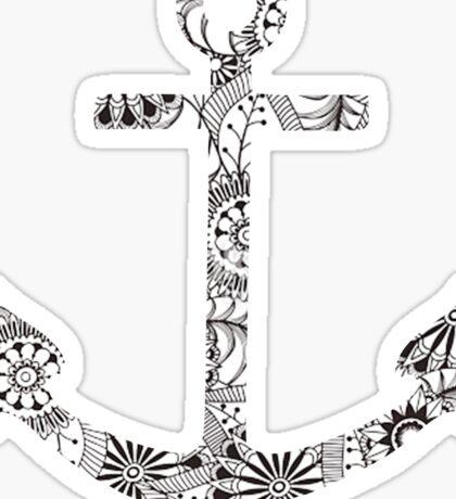 Black and White Anchor Sticker