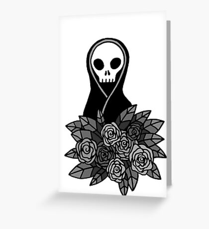 Reaper Bouquet ~ Grey scale Greeting Card