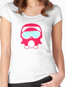 Funky Penguin DJ Women's Fitted Scoop T-Shirt