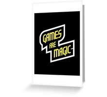 Games Are Magic Text Logo (White) Greeting Card