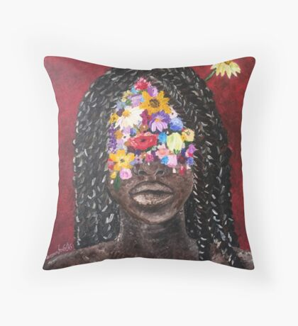 Girl In The Braids Throw Pillow